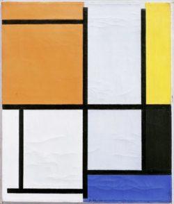 """Piet Mondrian """"Tableau mit Orange Gelb Schwarz Blau und Grau"""" 49 x 41 cm"""