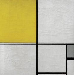 """Piet Mondrian """"Komposition mit Doppellinie und Gelb und Grau"""" 50 x 50 cm"""