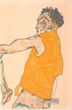 """Egon Schiele """"Selbstbildnis mit gelber Weste"""" 32 x 48 cm"""