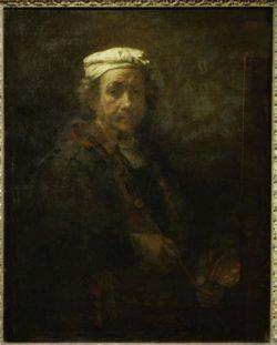 """Rembrandt """"Rembrand-Selbstbildnis-vor-der-Staffelei"""" 110 x 86 cm"""