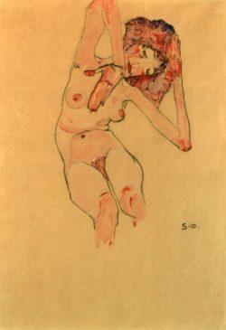 """Egon Schiele """"Sitzender Frauenakt mit geneigtem Kopf"""" 31 x 45 cm"""