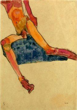 """Egon Schiele """"Sitzender männlicher Torso"""" 32 x 45 cm"""