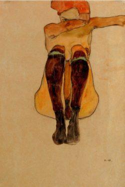 """Egon Schiele """"Sitzender Akt mit lila Strümpfen"""" 30 x 43 cm"""