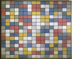 """Piet Mondrian """"Komposition mit Gitter Schachbrett mit hellen Farben"""" 86 x 106 cm"""