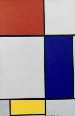 """Piet Mondrian """"Composition avec rouge jaune et bleu"""" 124 x 80 cm"""
