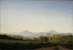 """Caspar David Friedrich """"Böhmische Landschaft mit dem Milleschauer""""  104 x 70 cm"""