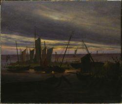 """Caspar David Friedrich """"Schiffe im Hafen am Abend""""  88 x 76 cm"""