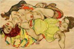 """Egon Schiele """"Weibliches Liebespaar"""" 50 x 33 cm"""