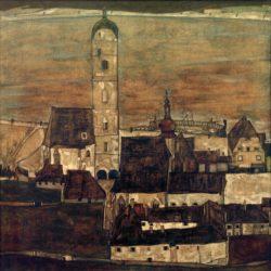 """Egon Schiele """"Stadt Stein 2"""" 92 x 92 cm"""