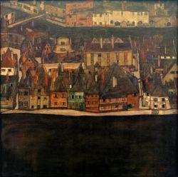"""Egon Schiele """"Die kleine Stadt 2"""" 90 x 90 cm"""