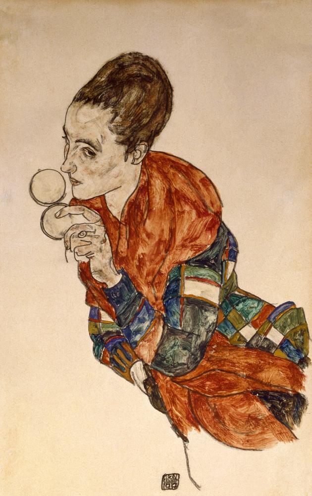 """Egon Schiele """"Portrait Schauspielerin Marga Boerner mit Puderdose"""" 31 x 48 cm"""