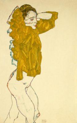 """Egon Schiele """"Sich entkleidendes Mädchen Gouache"""" 31 x 48 cm"""