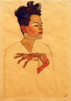 "Egon Schiele ""Selbstporträt"" 31 x 45 cm"