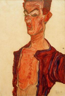 """Egon Schiele """"Selbstdarstellung grimassierend"""" 31 x 45 cm"""