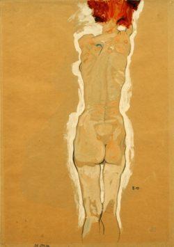 """Egon Schiele """"Weiblicher Rückenakt"""" 32 x 45 cm"""