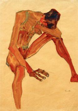 "Egon Schiele ""Sitzender Männerakt"" 30 x 44 cm"