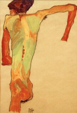 """Egon Schiele """"Sich aufstützender Rückenakt"""" 30 x 45 cm"""