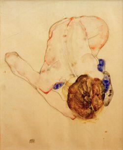"""Egon Schiele """"Nach vorn gebeugter Akt mit blauen Strümpfen"""" 29 x 38 cm"""
