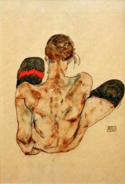 """Egon Schiele """"Sitzender weiblicher Rückenakt"""" 30 x 44 cm"""