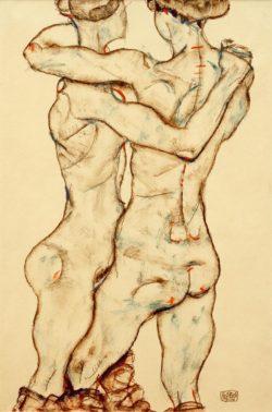 """Egon Schiele """"Sich umarmende Mädchenakte"""" 31 x 48 cm"""