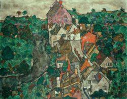 """Egon Schiele """"Krumauer Landschaft Stadt und Fluss"""" 141 x 111 cm"""