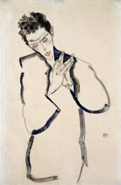 """Egon Schiele """"Selbstbildnis mit gefalteten Händen"""" 32 x 48 cm"""