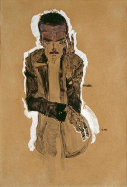 "Egon Schiele ""Bildnis Eduard Kosmack mit erhobener linker Hand"" 31 x 45 cm"