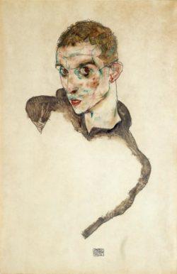"Egon Schiele ""Selbstbildnis "" 31 x 47 cm"
