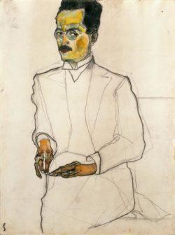 """Egon Schiele """"Porträt eines Herren Zeichnung"""" 29 x 40 cm"""