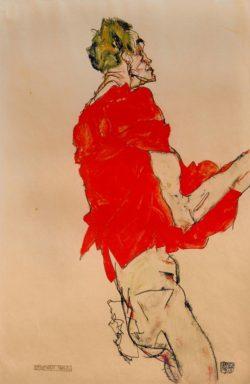 """Egon Schiele """"Stehender Mann mit rotem Tuch"""" 32 x 48 cm"""