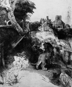 """Rembrandt """"Der-heilige-Hieronymus-in-bergiger-Landschaft"""" 26 x 20.8 cm"""