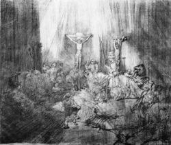 "Rembrandt """"Kreuzigung""-genannt-""Die-drei-Kreuze"""" 38.7 x 45 cm"