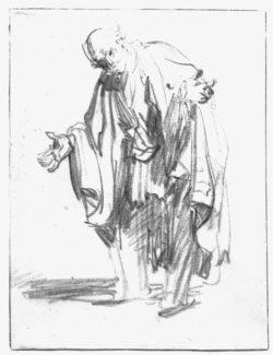 """Rembrandt """"Alter-Mann-mit-ausgebreiteten-Armen"""" 25.4 x 19 cm"""