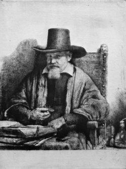 """Rembrandt """"Porträt-des-Arztes-Arnout-Tholinx"""" 19.8 x 14.9 cm"""