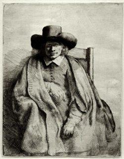 """Rembrandt """"Porträt-des-Kunsthändlers-Clement-de-Jonghe"""" 20.7 x 16.3 cm"""