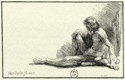 """Rembrandt """"Männlicher-Akt-am-Boden-sitzend"""" 97 x 16.9 cm"""