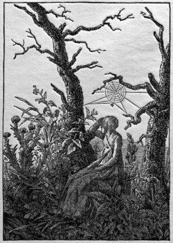 """Caspar David Friedrich """"Die Frau mit dem Spinnennetz zwischen kahlen Bäumen""""  190 x 242 cm"""