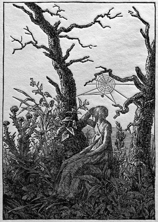 """Caspar David Friedrich """"Die Frau mit dem Spinnennetz zwischen kahlen Bäumen""""  190 x 242 cm 1"""