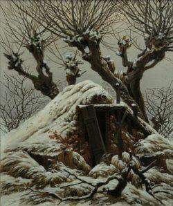 """Caspar David Friedrich """"Verschneite Hütte""""  25 x 31 cm"""