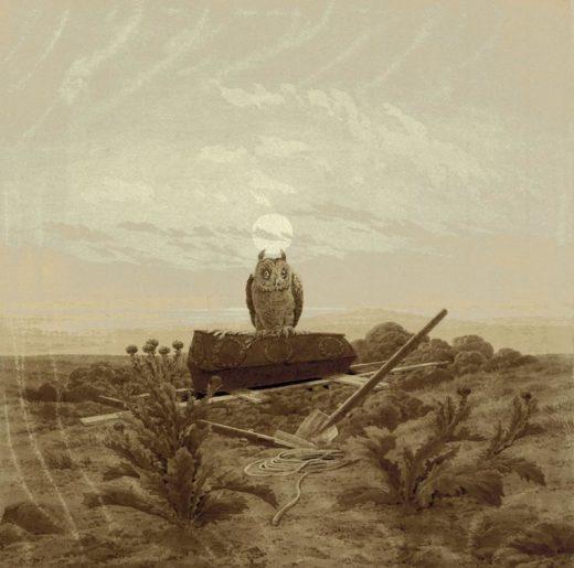 """Caspar David Friedrich """"Landschaft mit Grab Sarg und Eule""""  38 x 38 cm 1"""