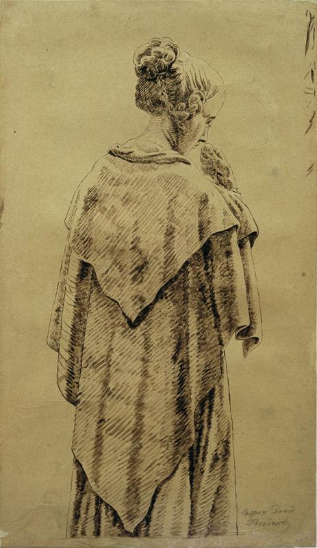 """Caspar David Friedrich """"Frau im Umschlagtuch""""  18 x 32 cm 1"""