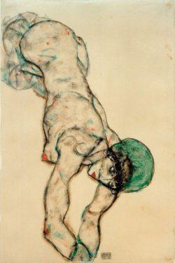 """Egon Schiele """"Frauenakt mit grüner Haube"""" 49 x 32 cm"""