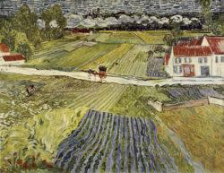 """Vincent van Gogh """"Landschaft mit Pferdewagen und Zug im Hintergrund"""" (Landschaft bei Auvers nach dem Regen) 72 x 90 cm"""
