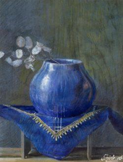 """Egon Schiele """"Stillleben eines Silberblattes in blauer Vase"""" 31 x 40 cm"""