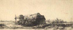 """Rembrandt """"Die-Hütte-und-der-Heuschober"""" 12.9 x 32 cm"""