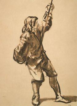 """Rembrandt """"Figurenstudie-eines-jungen-Mannes-an-einem-Seil-ziehend"""" 29 x 17.8 cm"""