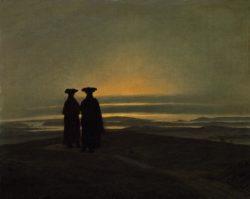 """Caspar David Friedrich """"Abendlandschaft mit zwei Männern""""  31 x 25 cm"""