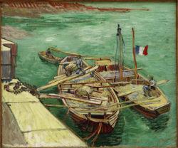 """Vincent van Gogh """"Rhonebarken"""" (Boote mit Sand ausladenden Maennern), 55,1 x 66,2 cm"""