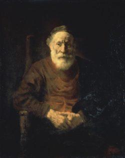 """Rembrandt """"Bildnis-eines-alten-Mannes-in-rotem-Gewand"""" 108 x 54 cm"""