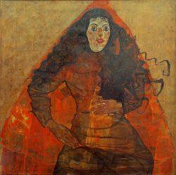 "Egon Schiele ""Bildnis Trude Engel"" 100 x 100 cm"